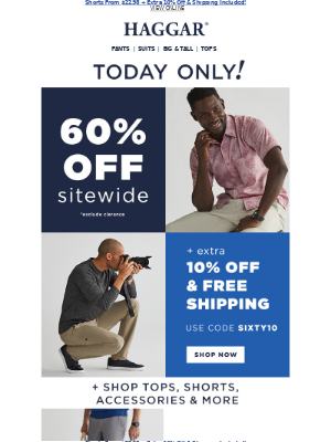Haggar Clothing Co. - NOW! 60% off Sitewide + EXTRA 10% Off & Free Shipping