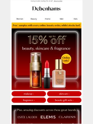 Debenhams (UK) - 15% OFF your favourite beauty brands 🙌