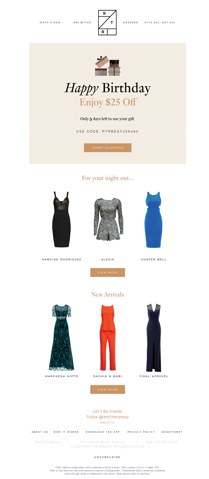 Rent the Runway - LAST CALL: Use Your Birthday Gift Today