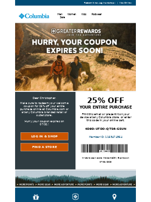 Welcome offer from Columbia Sportswear
