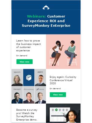 SurveyMonkey - Webinars: Curiosity Conference on demand; customer experience ROI