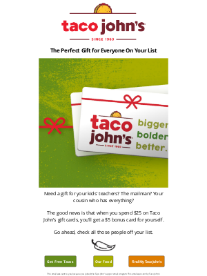 Taco John's - 🎁The Gift of Tacos Keeps On Givin'