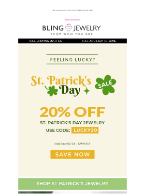 Bling Jewelry - 20% off St. Patrick's Day Jewelry! 🍀 It's Your Lucky Day!