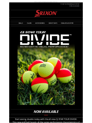 Srixon - Q-STAR TOUR DIVIDE Now Available | Srixon