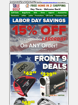 Rock Bottom Golf - ⛳ SITE WIDE SAVINGS w/ 15% OFF & FREE 🏠 IN 2 Shipping For Labor Day!
