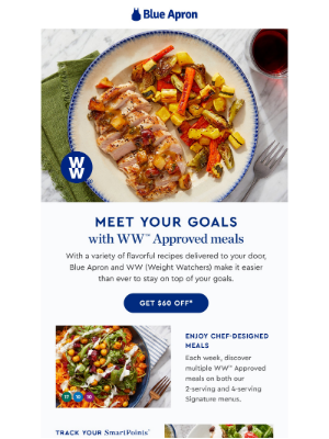 Blue Apron - Stay on track *and* enjoy delicious meals.