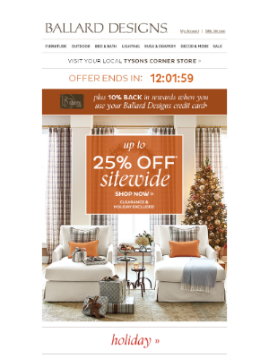 Ballard Designs - Sleigh What? Last Day to Shop Up to 25% Off Sitewide.