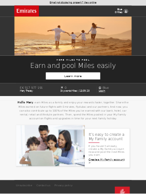 Emirates - Pool all your Skywards Miles in your My Family account