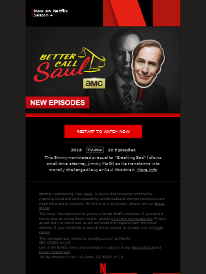 MailCharts, Better Call Saul Season 4 is now on Netflix