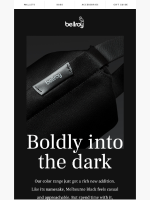 Bellroy - New black, bold colors.
