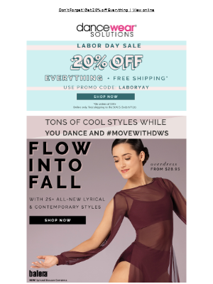 Dancewear Solutions - Flow into Fall.