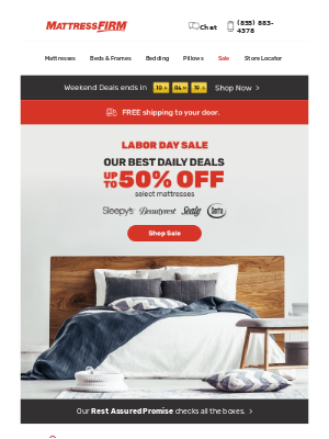Mattress Firm - ENDS TODAY | Up to 50% OFF select mattresses.