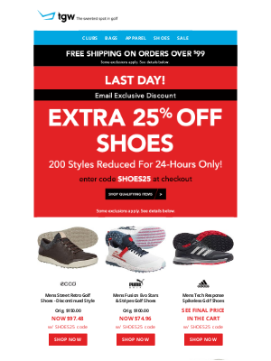 tgw - Last Day! Extra 25% Off Shoes & Under $20 Apparel