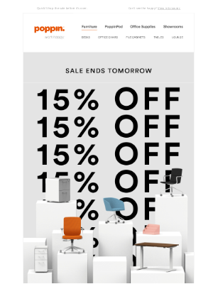 Poppin - 15% off WFH Furniture ends tomorrow!