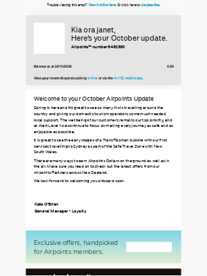 Air New Zealand - janet, your October Airpoints Update