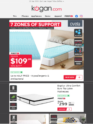 Kogan (AU) - Up to 50% OFF 7 Zone Memory Foam Mattress Toppers | Queen $109.99 (Was $219.99)!