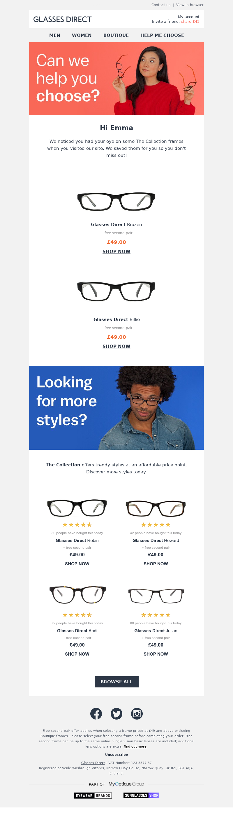 Call us: 01793 746601 | View in browser Glasses Direct Hi Emma We noticed y