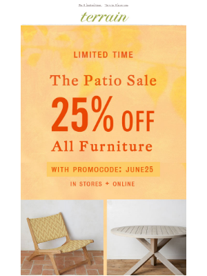 All furniture is 25% OFF.