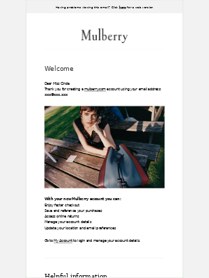 Welcome to your Mulberry account