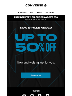 Converse - 50% Off Newly Added Styles