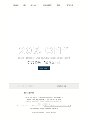Joules (UK) - Take 20% off rainy day styles