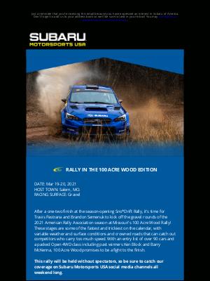 Subaru of America - MOTORSPORTS NEWS: SUBARU BACK IN RALLY ACTION AT 100 ACRE WOOD
