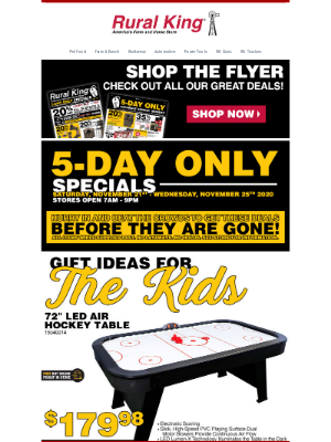 Rural King Supply - 🎁 5-Day Specials Continue   Gift Ideas + More!