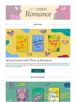 Goodreads - March Romances to Catch Your Fancy