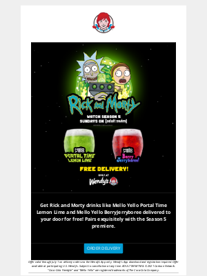 Wendy's - Get Free Delivery on Rick and Morty Beverage Mixes!