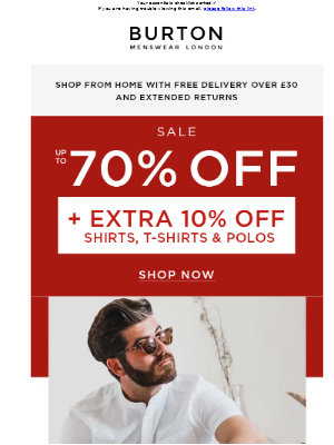 Extra 10% off ALL sale shirts, t-shirts and polos