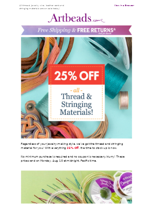 25% Off Jewelry Wire, Thread, Cord, Ribbon...