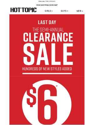 Hot Topic - LAST DAY: Grab $6 tees & BOGO Free Clearance items 😱