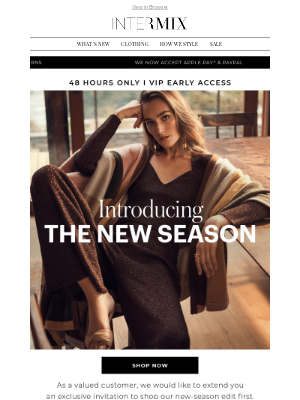 INTERMIX Designer Clothing - You're Invited To Shop The New Season Before Anyone Else