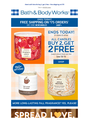 Bath & Body Works - LAST DAY! 😢 get your 2 FREE candles...