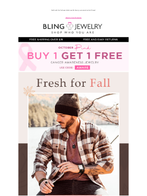 Bling Jewelry - Shop Men's Style: Fall Edition + BOGO Cancer Awareness Jewelry!
