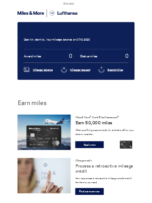 Lufthansa - Your current mileage balance in October