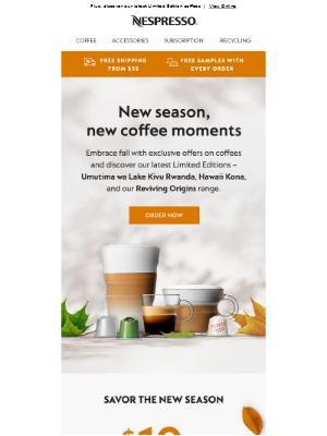 Nespresso (UK) - Welcome Fall with $10 off