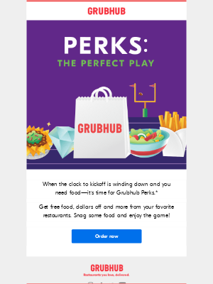 GrubHub - It's game day! Time to score some Perks!