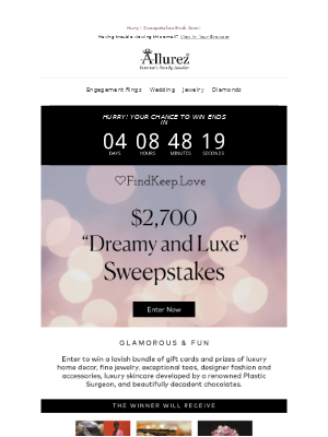 $2700 Sweepstakes Ends Soon   Enter Now  🛍️