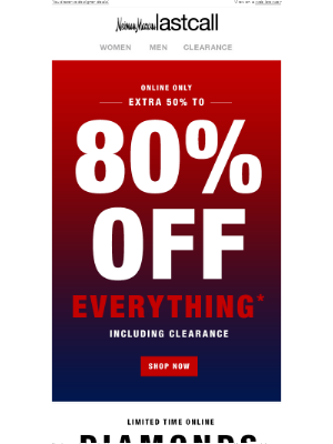 Neiman Marcus Last Call - Need to cool off? What's cooler than extra 50% to 80% off everything?