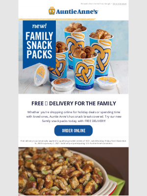 Auntie Anne's - This Week: $0.00 Delivery