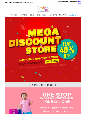 FirstCry (India) - Mega Discount Store! Get Flat 40% OFF, SHOP NOW >