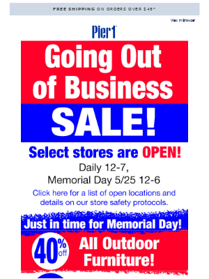 Going Out of Business – Save up to 30% off!