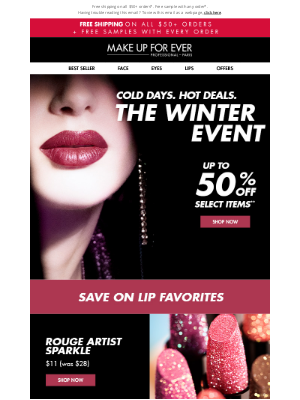 MAKE UP FOR EVER - Up to 50% off LIPS