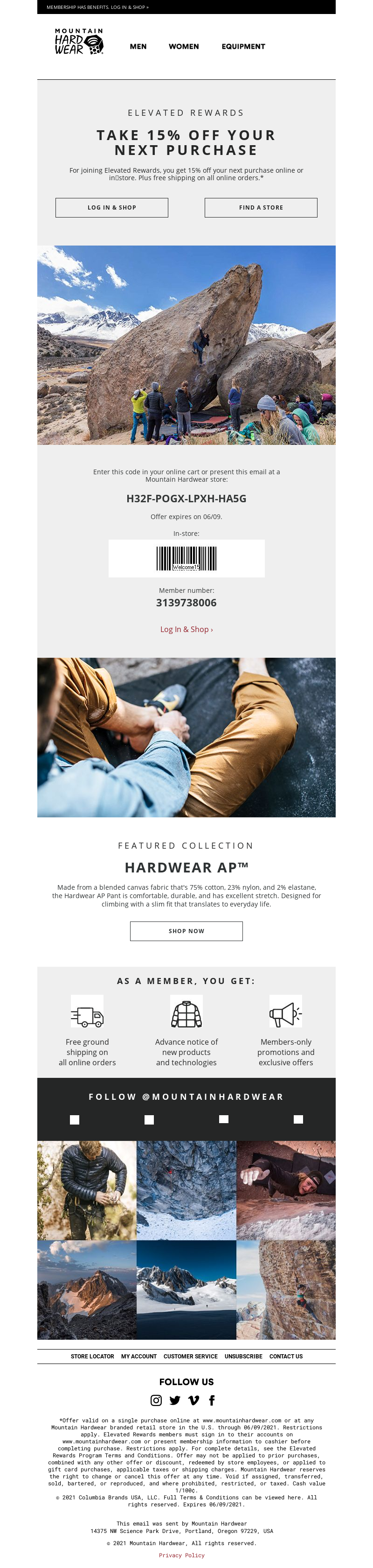 Mountain Hardwear - 15% off for Elevated Rewards members!