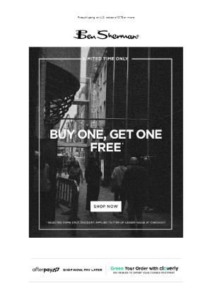Buy One, Get One Free! Limited Time Only