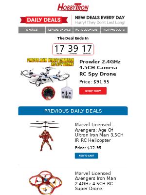 $91.95 -Prowler 2.4GHz 4.5CH Camera RC Spy Drone