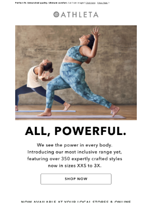 Athleta - Introducing 350+ Styles in Sizes XXS to 3X