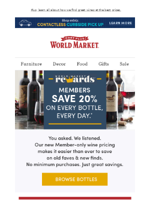 World Market - NEW! Save on every wine, every day.