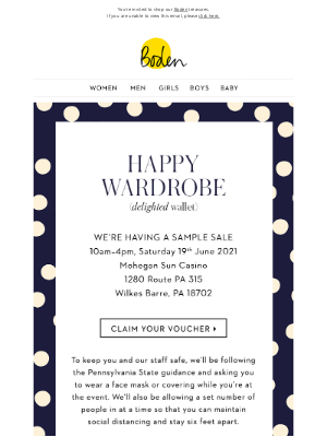 Boden (UK) - Don't miss the Wilkes Barre Sample Sale